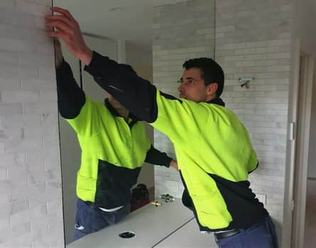 Bathroom mirror install above vanity unit