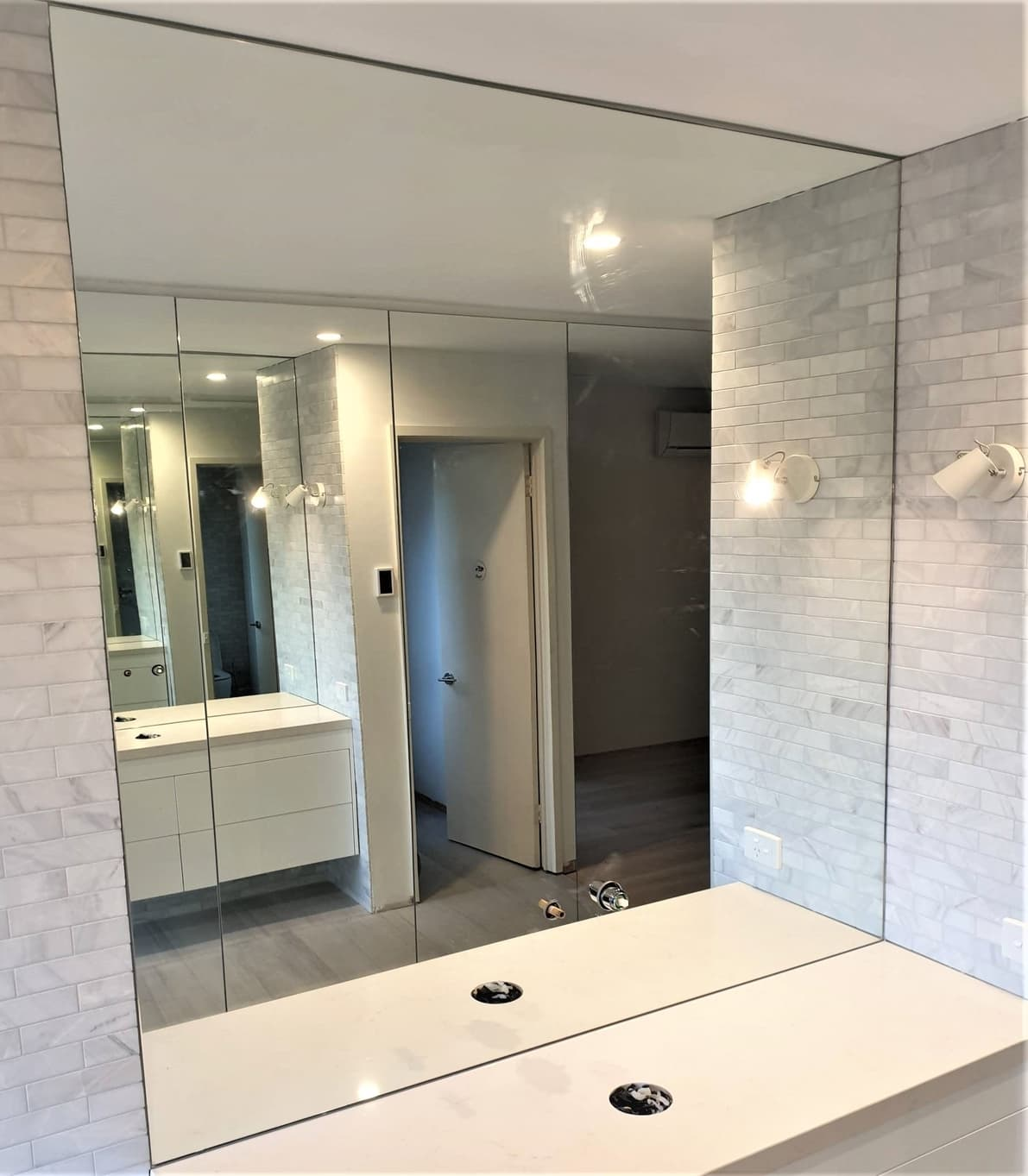 Vanity mirror in bathroom
