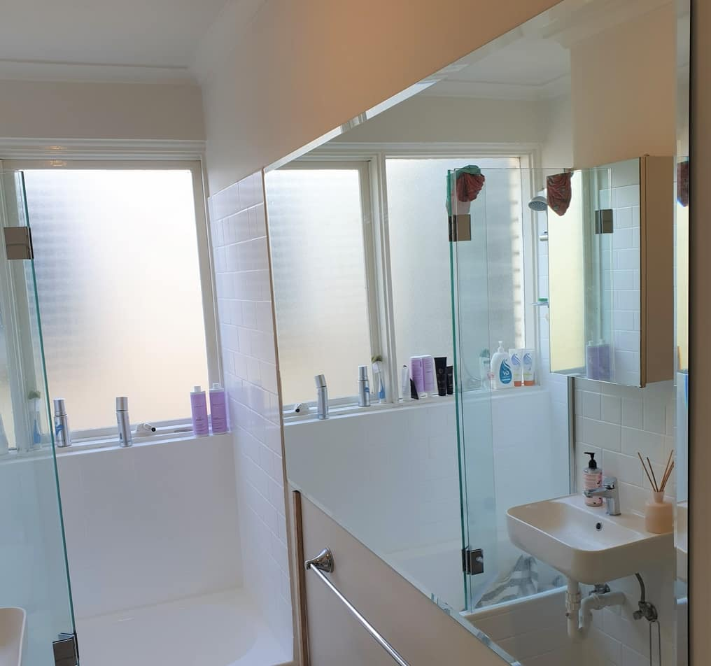 beveled edge mirror installed